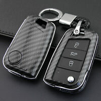 Carbon Fiber ABS Key Fob Cover Case Chain Fit for VW Golf Mk7 Seat Leon Ateca