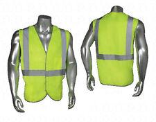 NEW SIZE 2XL Solid Poly Safety Vest Lime 3 Pockets Reflective ANSI Class 2
