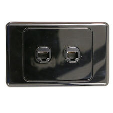 2 Gang Wall Plate Wallplate Clipsal Style RJ45 Cat 6 Data Network LAN - BLACK