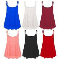 Ladies Strappy Lace Camisole Vest Top Womens Sleeveless Flared Swing Fancy Top