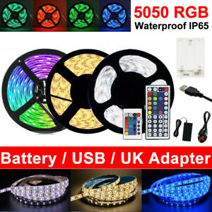 RGB 3M 5M 5050 LED Strip Lights Colour Changing With IR Remote Power Supply 12V
