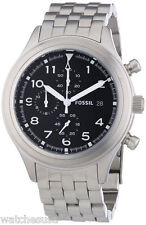 Fossil JR1431 Compass Black Dial Stainless Chronograph Men's Watch