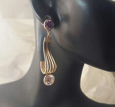 "14KY Solid Gold Accents  Amethyst and CZ  Fancy Dangle 1 3/4"" Long Earrings"