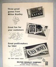 Easy Money, Racko, Head of the Class Board Game PRINT AD - 1962 ~ Milton Bradley