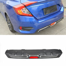 PP ABS Rear Bumper Diffuser Bar Lip With Lamp Fit For Honda Civic 16-17 Black