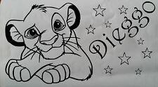 Sticker roi lion, simba avec prénom personnalisé