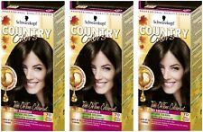 Schwarzkopf Country Colours 70 Brazil Nut Dark Brown Long Lasting Hair Dye x 3