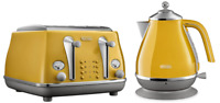 Delonghi CTOC4003Y KBOC2001Y Icona Capitals Toaster + Kettle PACK - Yellow