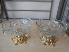 Modern 2 Tlg Gold Chrom Kristall &Glas Bonbonschale..