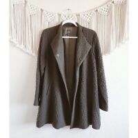 EILEEN FISHER Small Textured Knit Snap Button Wool Jacket Green