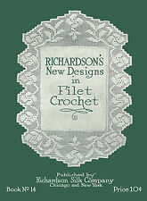 Richardson's #14 c.1917 Vintage Filet Crochet Patterns and Charted Designs
