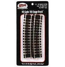 "Atlas #834   1/2 Section 18"" Radius Track, 4 pack, Code 100 Rails, HO Scale"