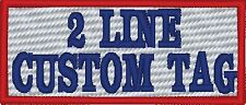 2 LINES Custom Embroidered  Name Tag Patch Motorcycle Biker