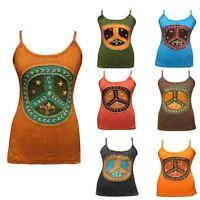Peace Shirt Tunic Women Festival Cami Blouse Dress Crew Vest Hippy Boho Tank Top