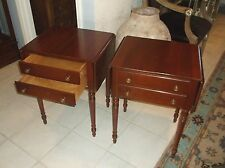 Pair Willett two drawer cherry drop leaf nightstands