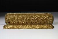 Pair of Decorative Pressed Brass Door Finger Push Plates Art Nouveau Large Gilt