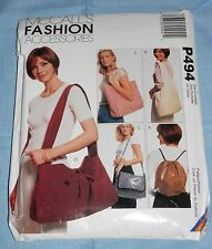 McCall's Fashion Accessories Pattern P494 Shoulder Bags, Totes & Backpack