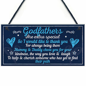 Godfather Gifts For Christmas Godparent Christening Friend Dad Grandad Gift Sign