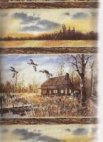 Sunset Lake autumn stripe cabin lake birds flying Wilmington fabric