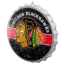 "Chicago Blackhawks Bottle Cap Wall Sign - Distressed Room Bar Decor Metal 13.5"""
