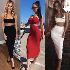 Ladies Bra Top Full Length Skirt 2PCs Set High Waist Bodycon Party Maxi Dress UK