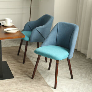 Accent Linen Fabric Dining Chair Solid Wooden Legs Restaurant Kitchen Furniture