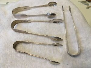 Heavy antique Solid Silver sugar tongs- hallmarked - 4 pairs