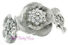 Textured Rose Trio Flower Floral Silver Hinged Cuff Bangle w/ Swarovski Crystals
