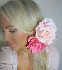 Bright & Baby Pink 3 Rose Flower Corsage Cluster Pearl Hair Clip Choochie Choo