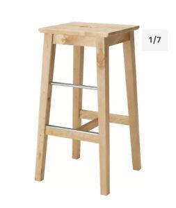 Ikea NILSOLLE bar stool, birch, 4/4