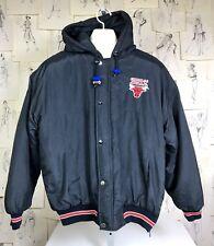 80s VTG Starter NBA Chicago Bulls Embroidered Logo Hooded Jacket Coat XL Zip