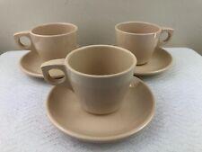 Boonton Dinnerware Tan Cup & Saucer Set - 6 pieces Vintage Melamine Melmac Beige