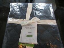 Pottery Barn Belgian Linen diamond Twin quilt standard  sham midnight blue New