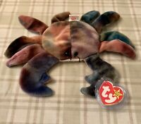 Ty Beanie Babies CLAUDE the Crab Rare Retired ALL CAPS ERROR, PVC Pellets, 1996
