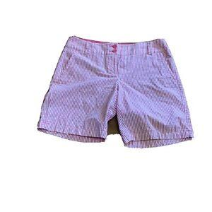 Manhattan Chino Womens New York Co Shorts size 10 Pink Stripe