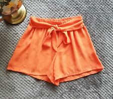 Tyche Juniors Orange Shorts Elastic Waist Belt High Waist Poly Chiffon Sz Small