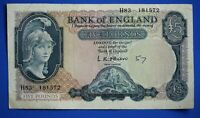 "1957 Bank of England, BOE Five pounds, O'Brien, Prefix ""H83"" £5 note *[21836]"