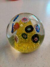 Fratelli Toso Millefiori Murano Yellow Drop Bubbles Paperweight