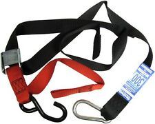 Tie Downs 38mm wide Red/Black with hook & snap hook