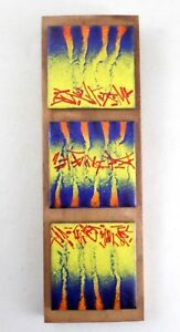 Enamel on Copper Modern Abstract Triptych 3 Tiles Wall Plaque Primary Colors