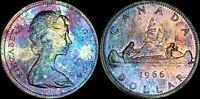 1966 CANADA ELIZABETH II SILVER DOLLAR HIGH QUALITY COLOR TONED COIN