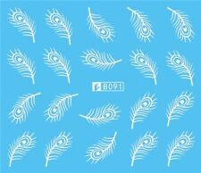 Nail Art Stickers Water Decals Transfers White Mono Design Feathers (B091)