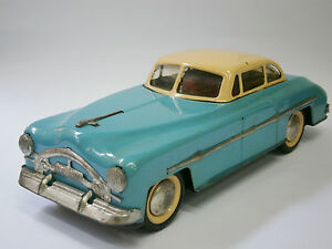 1960's AMAZING VINTAGE OLD BLUE TIN TOY CLASSIC CAR FRICTION FOREIGN