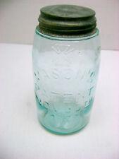 MASON'S PATENT NOV. 30th 1858 Aqua QUART HERO CROSS Canning Jar & Cap Mold 222