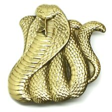Snake Belt Buckle Coiled Cobra Design Solid Brass Authentic Baron Buckles