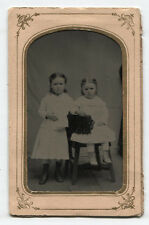 TINTYPE, FROWNING YOUNG SISTERS, WHAT A JOY TO BEHOLD. PERIOD MAT.