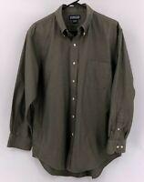 Land's End Men's Dress Shirt Deep Olive Green Size 16 Long Sleeve Button Down