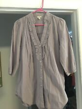 Anthropologie Odille Blouse 8 Pale Purple Embroidered Ruffled Collar Shirt Top