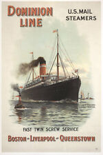 Dominion Line US Mail Steamers Boston Liverpool Queenstown Plakate A1 281