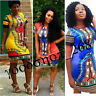 Sexy Women Traditional African Print Dashiki Bodycon Dress Party Festival Dress